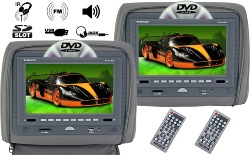 "evervox ev-910hd gray 9"" dual headrest monitor/dvd"
